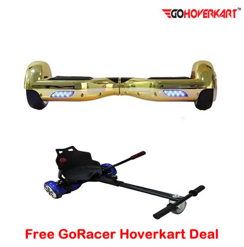 Chrome Gold 6.5 Hoverboard Segway and free go racer hoverkart