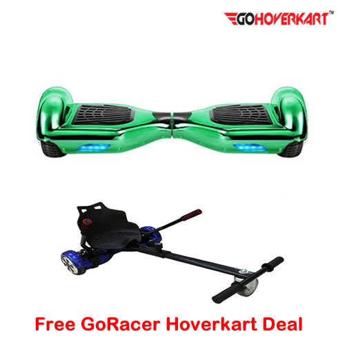 Chrome Green 6.5 Hoverboard Segway and free go racer hoverkart