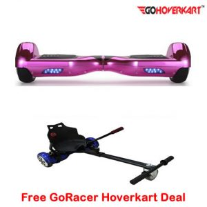 Chrome Pink 6.5 Hoverboard Segway and free go racer hoverkart