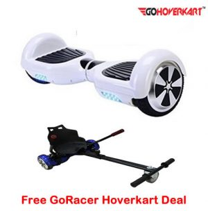 White 6.5 Hoverboard Segway and free go racer hoverkart